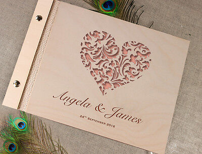 Wooden Wedding Guest Book / Photo Album Lace Heart with Laser Engraved Names