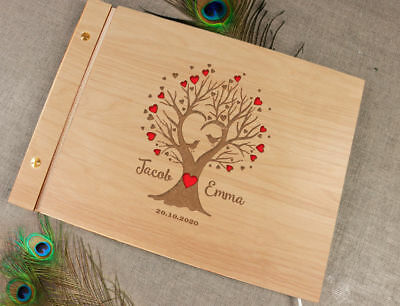Wooden Wedding Guest Book / Photo Album Rustic Tree with Laser Engraved Names