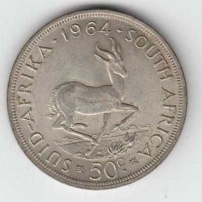1964 SOUTH AFRICA 50 Cents SILVER COIN BU Bust of Jan Van Riebeeck #15