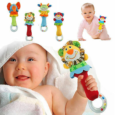 1*Developmental Animal Plush Toy Baby Kids Infant Handbells Bed Bell Soft Rattle