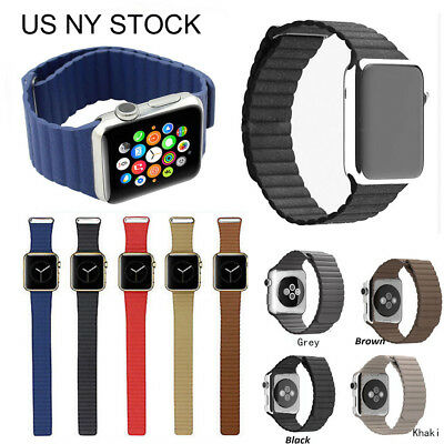 7 Color Genuine Leather Loop Magnetic Watch Band For Apple Watch Series 4 3 2 1