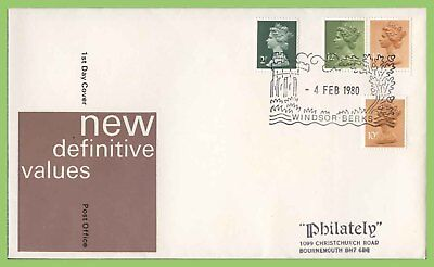 G.B. 1980 booklet definitives & 10p CB, on Post Office First Day Cover, Windsor