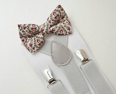 Kids Boys Pastel Gray Suspenders & Paisley Floral Bow tie SET Infant - ADULT