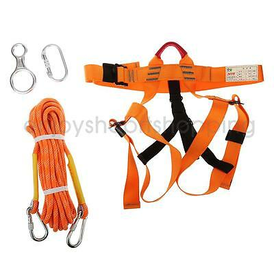 Outdoor Rock Climbing Set Kit Sitting Harness Rappelling Rope Gear Carabiner