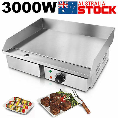 NEW 3000W Electric Griddle Grill Hot Plate Stainless Steel Commercial BBQ