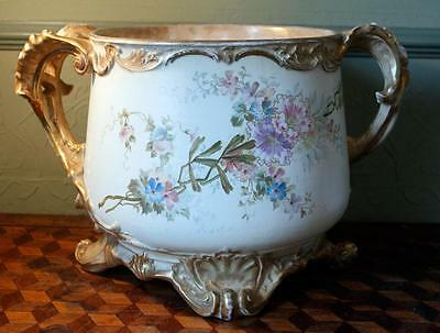 Gilded Antique Hand Painted Royal Bonn Germany Franz Anton Mehlem Jardiniere WOW