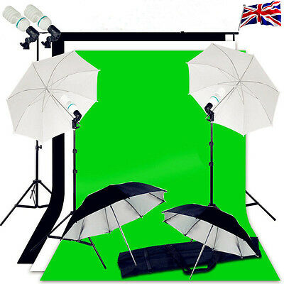 Photo Studio Background Support Lighting Kit 3 Backdrops Umbrella continuous uk
