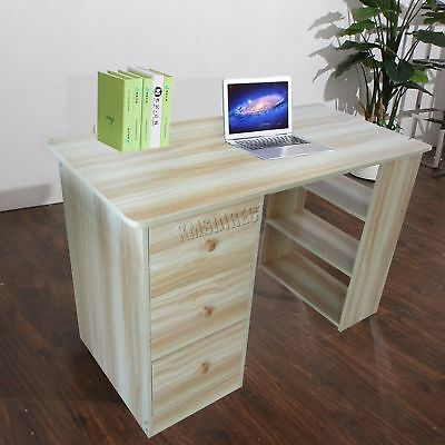 FoxHunter Computer Desk With 3 Drawers Shelves PC Table Home Office CD06 Walnut
