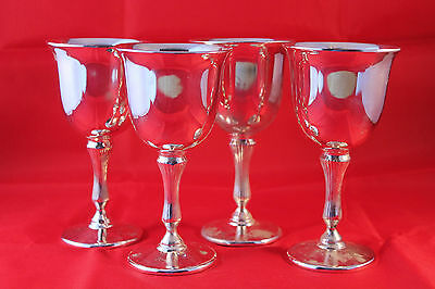 Nice Set Of 4 Retro Vintage Silver Plate Wine Goblets Grenadier Made In England