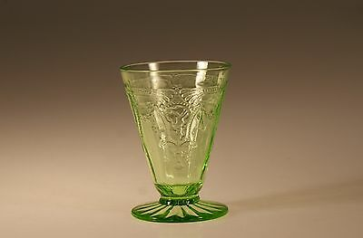 Vintage Hocking Glass Company Green Cameo Ballerina Footed Juice Tumbler c.1935