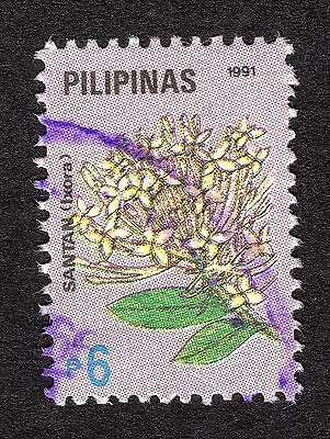 1991 Philippines Flowers 6p Yellow ixora SG 2331 FINE USED R21646