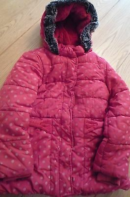 Marks and Spencer Girls Padded Red Winter Coat with Hood - Age 6 - 7