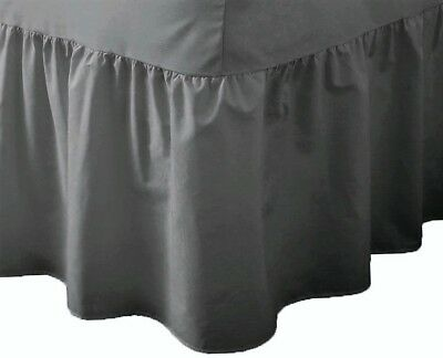 "24"" Deep Luxury Plain Non-Iron Percale Cotton King Bed Valance Sheet - Charcoal"