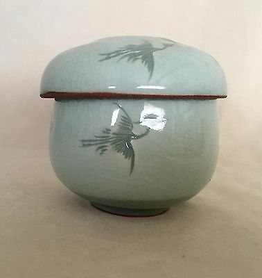 Beautiful Korean Celadon Pottery Covered Tea Bowl Hand Carved Cranes Signed
