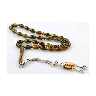 Pressed Amber, Islamic Prayer Beads tesbih, 33 beads 6x9mm, Tasbih Misbaha