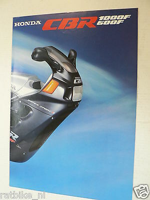 H298 Honda  Poster Brochure Cbr1000F And Cbr600F Dutch 8 Pages Folded