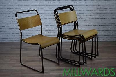 Vintage Brown Frame Industrial Stacking Cafe Bar Restaurant Chairs 30 AVAILABLE