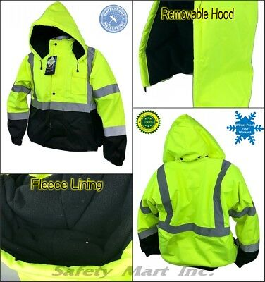 New High visible Safety Bomber Jacket Class 3 winter waterproof insulate - lime