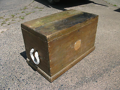 Large Solid Pine Vintage Trunk Rustic Coffee Table Rope Handle Chest Blanket Box
