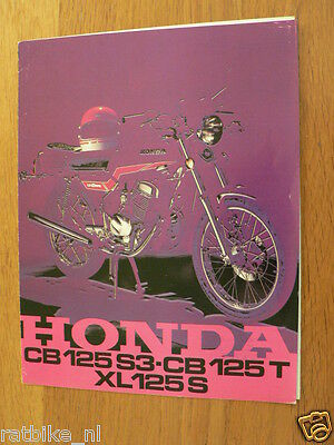 067 Honda Vintage Brochure Cb125 S3, Cb125T, Xl125S Dutch 6 Pages Prospekt Motor