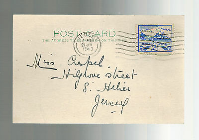 1943 Occupied Jersey Channel Island first day cover fdc postcard St Helier