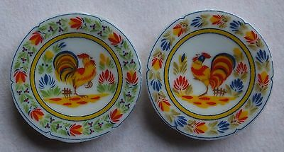Dolls house miniatures: a pair of traditional porcelain plates from France
