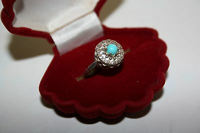 Vintage Soviet Era Turquoise Ring Silver 925 USSR Antique size 6