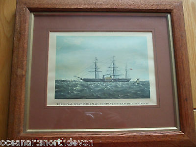 Antique Print C1800's The Royal West India Mail Company's Steam Ship Orinoco