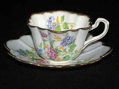 Rosina Bone China England Colorful Floral Cup Saucer Free Usa Shipping