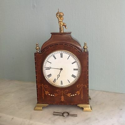 Edwardian Mahogany Marquetry Inlaid Mantle Clock
