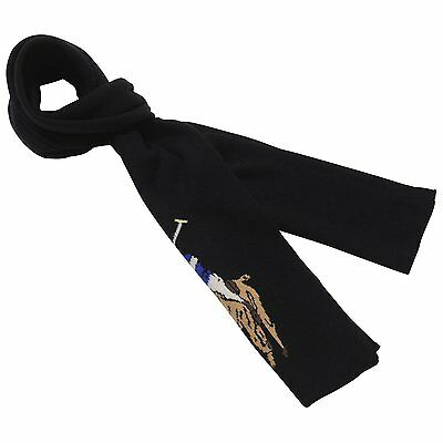 8359 Polo Ralph Lauren Mens Black Pony Merino Wool Rectangle Winter Scarf $60