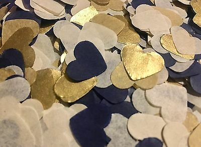 Navy blue, gold & ivory heart wedding confetti - party table decorations
