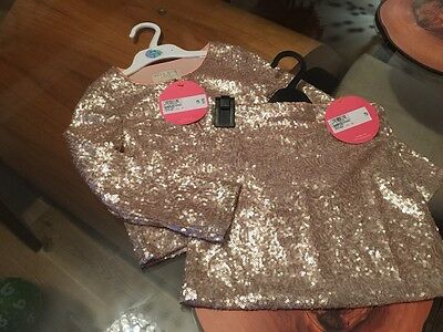 M&S pink sequin skirt and jacket age 5-6