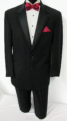 42R Black Perry Ellis Two Button Tuxedo With Pants Wedding Prom Cruise Mason 42R