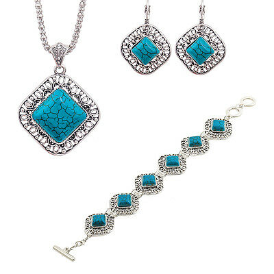 3pcs/Set Retro Plated Necklace Bracelet Earrings Turquoise Jewelry Sets