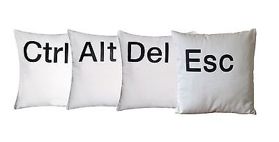 "'Ctrl Alt Del Esc' Cushion Cover White 16"" x 16"" 100% Twill Cotton Black Letters"