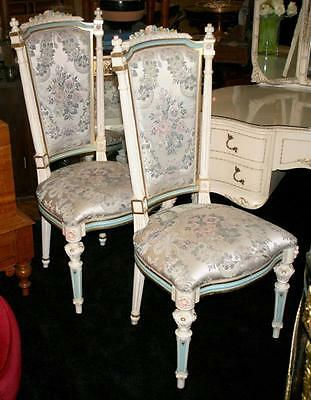 Pair of Italian Decorative Carved Wood Upholstered Silik Chairs