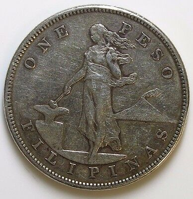 PHILIPPINES 1904 1 Peso Silver Crown