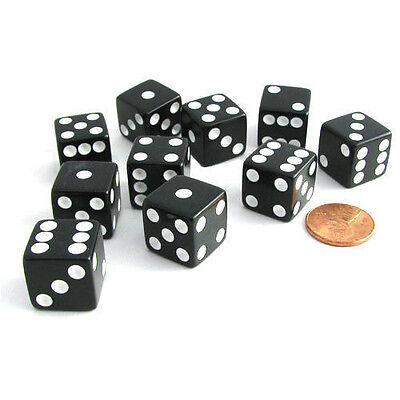 Set of 5 Six Sided Square Opaque 16mm D6 Dice - Black with White Pip Die New