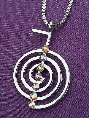 REIKI CHO KU REI silver plated SYMBOL PENDANT & NECKLACE with 7 EIMASS Crystals