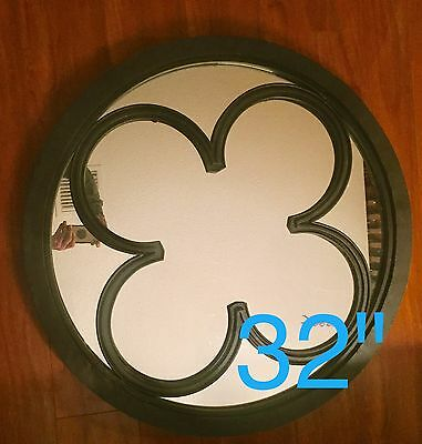 Antique English Gothic Revival Celtic Cast Iron Brutalist Folk Art Mirror Wall