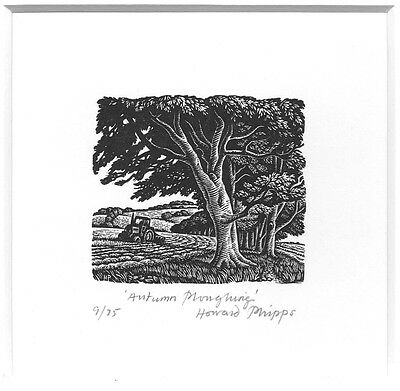'Autumn Ploughing' Wood Engraving by Howard Phipps limited edition signed Print