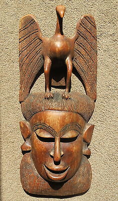 Large carved wood tribal mask with bird surmount - unknown age & origin