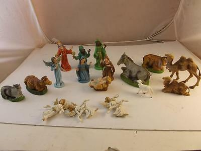 Vintage Nativity Creche Figures 16 Pieces From Italy Jesus Mary Joseph 3 Kings