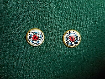 """2 Vintage LUTHERAN SUNDAY SCHOOL Religious Christian 3/4"""" Pinback Buttons Badges"""