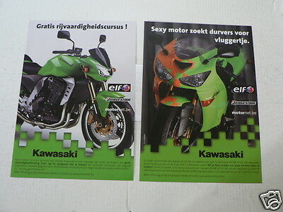 K224 Kawasaki  Brochure 2 Flyers Zx-6R Dutch French 4 Pages 2005 Motorcycle