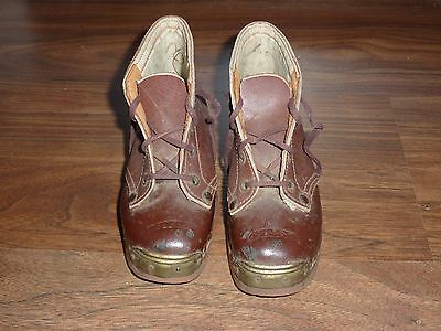 Vintage Small Childs Leather & Wooden Clogs Boots with metal brass toe caps