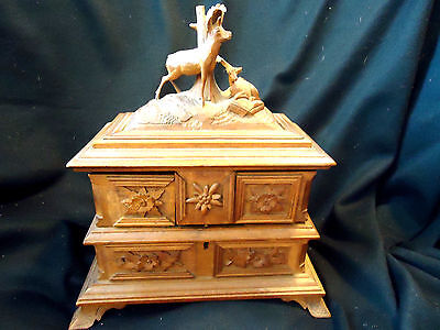 Stunning Antique Victorian Carved Sewing Box/chest W/ Deer Finial, Fold Out Draw