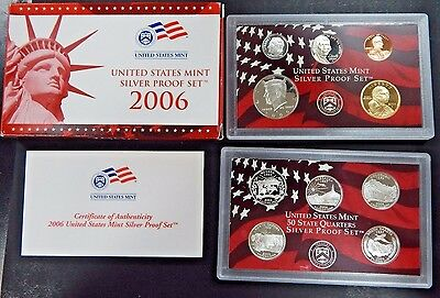 2006 S SILVER PROOF SET ALL 10 Coins COMPLETE US Mint Original Sealed w Box COA