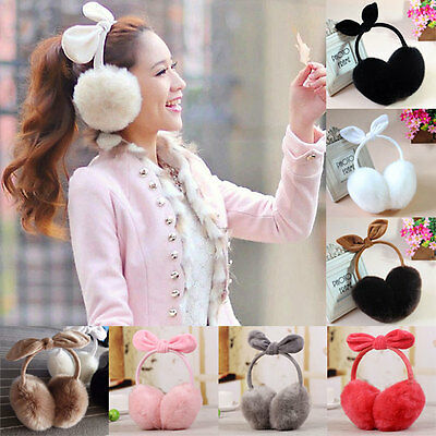 Women Girls Rabbit Ear Faux Rabbit Fur Earmuffs Soft Warmer Winter Earwarmers